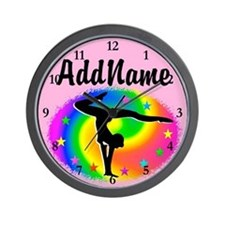 PINK STAR GYMNAST Wall Clock