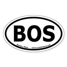 "Boston, Mass. Oval Sticker ""BOS"""