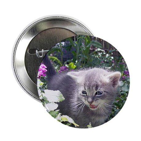 Flower Kitten Button