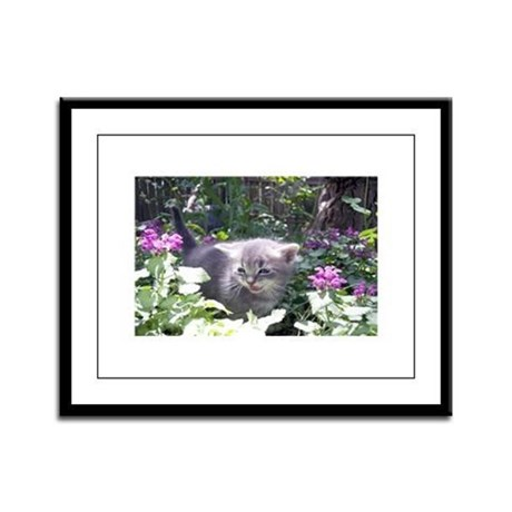 Flower Kitten Framed Panel Print
