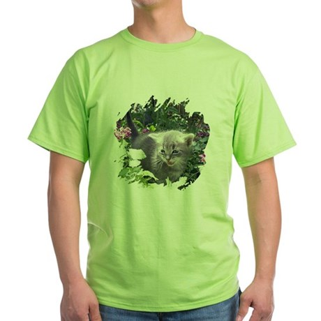 Flower Kitten Green T-Shirt