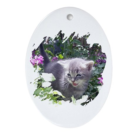 Flower Kitten Oval Ornament