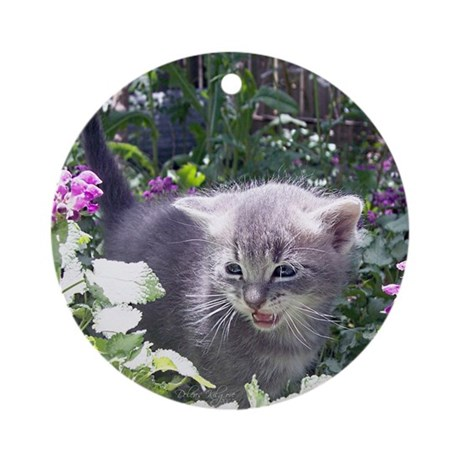 Flower Kitten Ornament (Round)