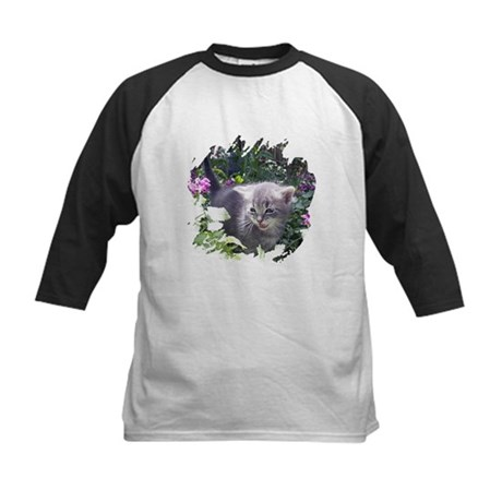 Flower Kitten Kids Baseball Jersey