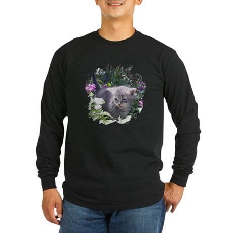 Flower Kitten Long Sleeve Dark T-Shirt
