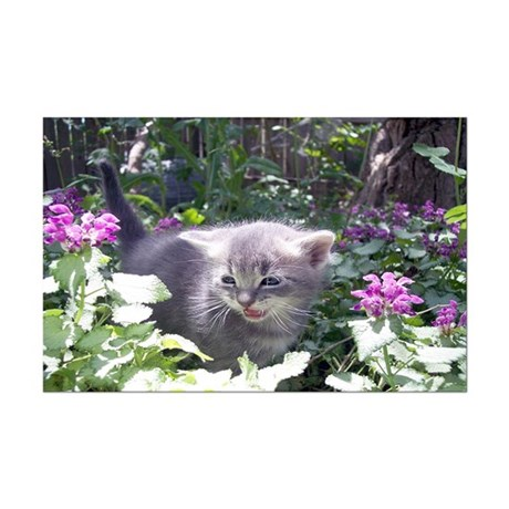 Flower Kitten Mini Poster Print