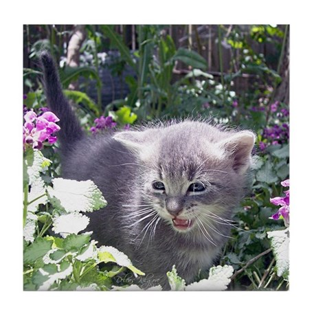 Flower Kitten Tile Coaster