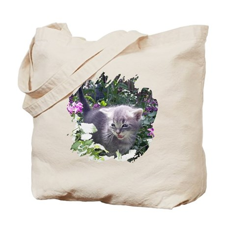 Flower Kitten Tote Bag