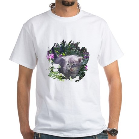 Flower Kitten White T-Shirt