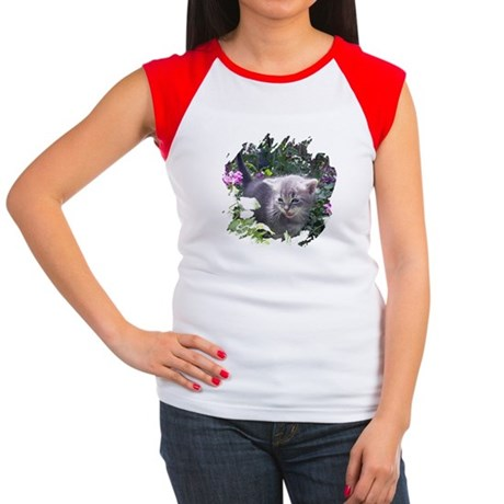 Flower Kitten Women's Cap Sleeve T-Shirt