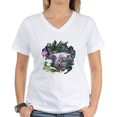Flower Kitten Women's V-Neck T-Shirt