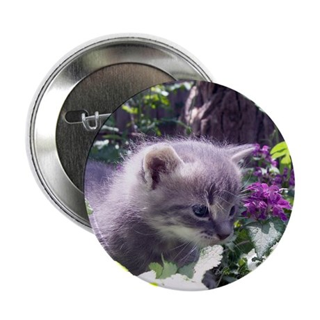 "Gray Kitten 2.25"" Button (10 pack)"