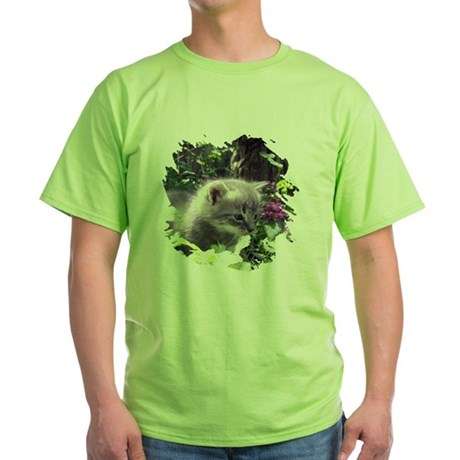 Gray Kitten Green T-Shirt