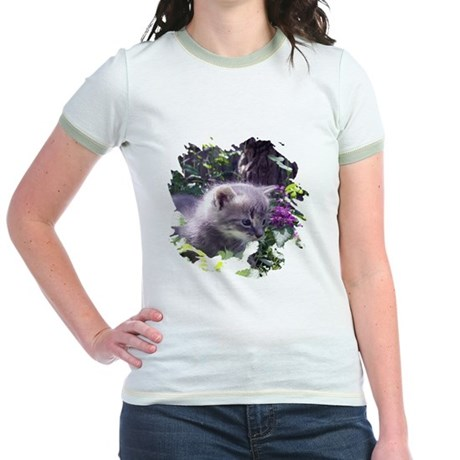 Gray Kitten Jr. Ringer T-Shirt