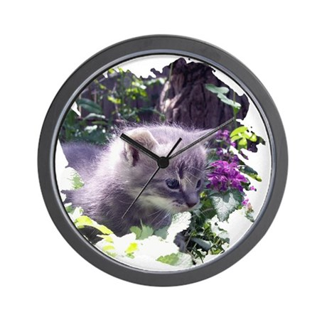 Gray Kitten Wall Clock