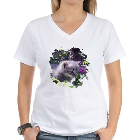 Gray Kitten Women's V-Neck T-Shirt