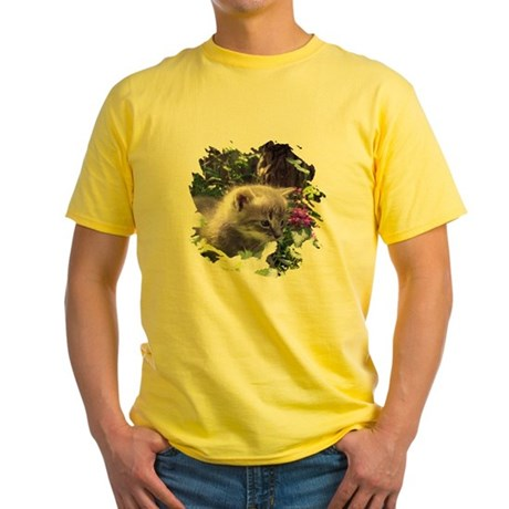 Gray Kitten Yellow T-Shirt