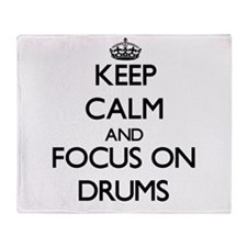 Cool Keep calm and play drums Throw Blanket