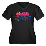 Grandkids - Women's Plus Size V-Neck Dark T-Shirt