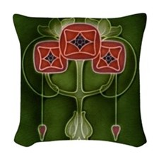 Woven Throw Pillow With Art Nouveau Red Tulips