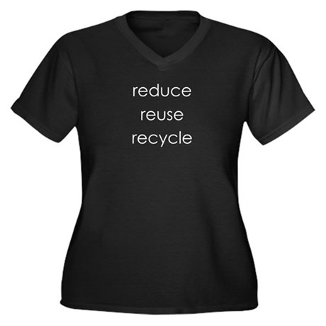 Recycle Women's Plus Size V-Neck Dark T-Shirt