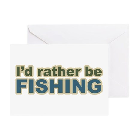 I'd Rather be Fishing Fish Greeting Cards (Package