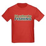 I'd Rather be Fishing Fish Kids Dark T-Shirt