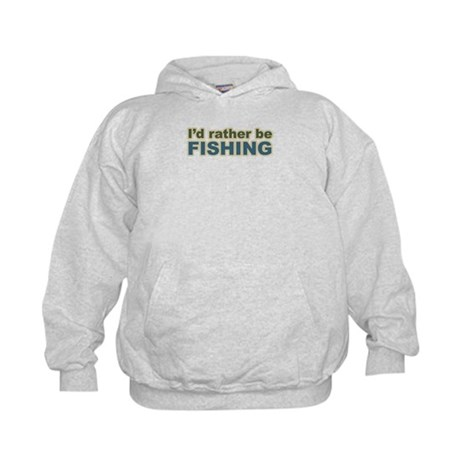 I'd Rather be Fishing Fish Kids Hoodie