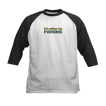 I'd Rather be Fishing Fish Kids Baseball Jersey