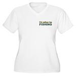 I'd Rather be Fishing Fish Women's Plus Size V-Nec