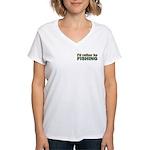 I'd Rather be Fishing Fish Women's V-Neck T-Shirt