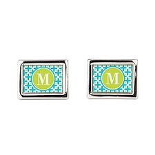 Monogram Cross Pattern Turquoise and Lime Rectangu