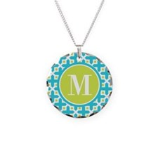 Monogram Cross Pattern Turquoise and Lime Necklace
