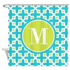 Monogram Cross Pattern Turquoise and Lime Shower C
