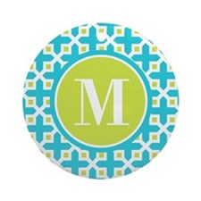 Monogram Cross Pattern Turquoise and Lime Ornament