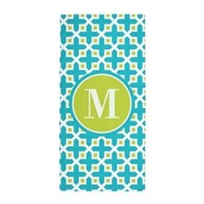 Monogram Cross Pattern Turquoise and Lime Beach To