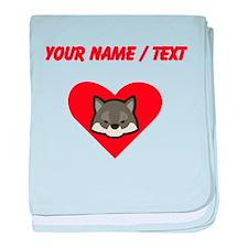 Custom Wolf Heart baby blanket