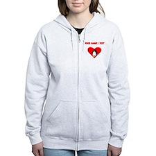 Custom Penguin Heart Zip Hoodie