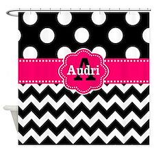 Black Pink Dots Chevron Personalized Shower Curtai