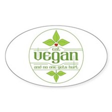 Eat Vegan and No One Gets Hur Sticker (Oval 10 pk)