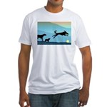 Dogs Chasing Ball Fitted T-Shirt