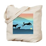 Dogs Chasing Ball Tote Bag