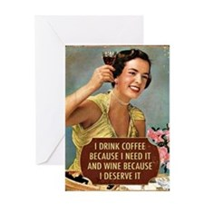 Drink Wine Greeting Cards
