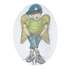 Little boy angel Oval Ornament