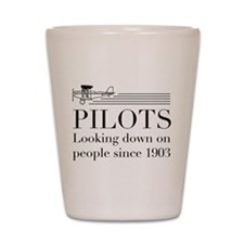 Pilots looking down people Shot Glass