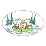Animals in a Canoe Oval Sticker