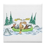 Animals in a Canoe Tile Coaster