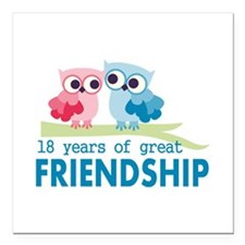 "18th Anniversary Owl Wed Square Car Magnet 3"" x 3"""