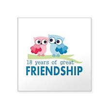 """18th Anniversary Owl Weddin Square Sticker 3"""" x 3"""""""