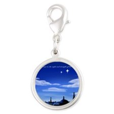 Second star to the right and s Silver Round Charm